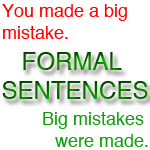 formal sentences passive voice